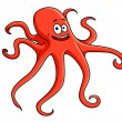Stock Vector: Cute red octopus with curling tentacles