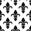 Black and white fleur de lys pattern — Stock Vector