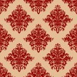 Stock Vector: Ornate red vintage damask style seamless pattern