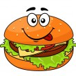Stock Vector: Tasty meaty cheeseburger on sesame bun