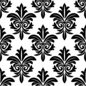 Bold foliate arabesque motif in black and white — Stock Vector