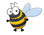 Flying cartoon bumble bee or hornet — Stock Vector