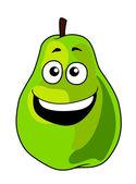 Fresh green cartoon pear fruit with a toothy grin — Stock Vector