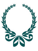 Foliate laurel wreath with a decorative ribbon — Vecteur