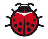 Red and black spotted ladybug icon — Stock Vector