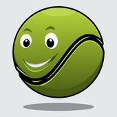 Happy bouncy green cartoon tennis ball — Stock Vector