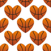 Basketball hearts in a seamless pattern — Stock Vector
