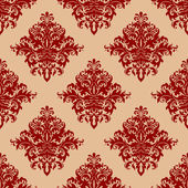 Ornate red vintage damask style seamless pattern — Stock Vector