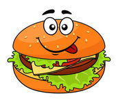 Tasty meaty cheeseburger on a sesame bun — Vector de stock