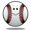Happy white cartoon baseball ball — Stockvector