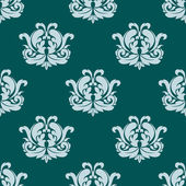 Pretty seamless damask style pattern in blue — Stock Vector