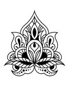 Bold black and white floral persian design — Vecteur