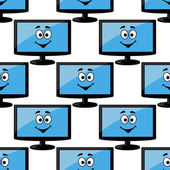 Seamless pattern of a happy desktop monitor — Stock Vector
