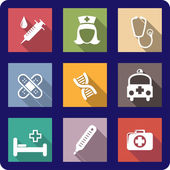 Set of flat medical icons — Stockvector