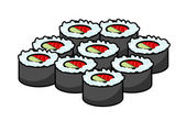 Serving of delicious seafood sushi — Stock Vector