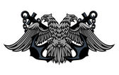 Double headed Imperial eagle on anchors — Stock Vector