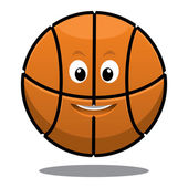 Bouncing happy brown basketball ball — Stock Vector