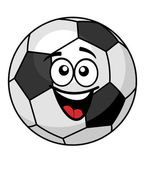 Goofy soccer ball with a big happy smile — Stock Vector