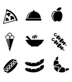 Black and white food icons — Stockvector