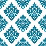 Ornate blue damask style floral pattern — Stock Vector
