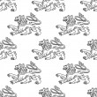 Seamless pattern of a vintage heraldic lion — Stock Vector