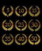 Anniversary golden laurel wreathes — 图库矢量图片