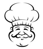 Smiling chef with a large curly moustache — Stock Vector