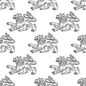 Seamless pattern of a vintage heraldic lion — Stockvector