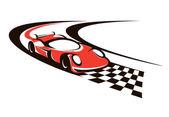 Speeding racing car crossing the finish line — Stock Vector
