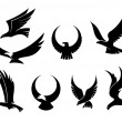 Set of flying eagles — Stock Vector