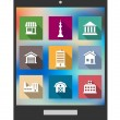 Architectural flat icons on a tablet screen — Stock Vector #43648061