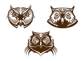 Owl heads mascots — Stock Vector
