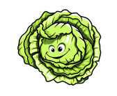 Fresh green healthy cartoon cabbage — Stock Vector