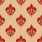 Red foliate seamless arabesque pattern — Stock Vector