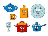 Collection of cartoon kitchenware — Stock Vector