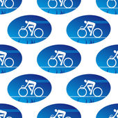 Cycling icon in a blue oval surround — ストックベクタ