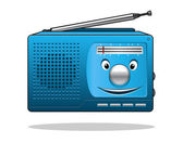 Happy retro transistor radio — Stock Vector