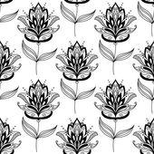 černá a bílá paisley květinový vzor — Stock vektor