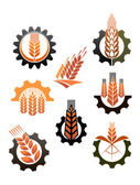 Set of icons depicting industry and agriculture — Stock Vector