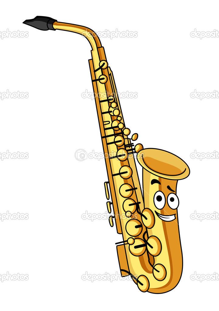 Saxophone en laiton de dessin anim image vectorielle - Dessin saxophone ...