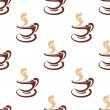 Seamless background pattern of steaming coffee — Stock Vector