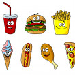 Set of happy cartoon takeaway food icons — Stock Vector