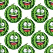 Seamless pattern of a laughing watermelon — Stock Vector
