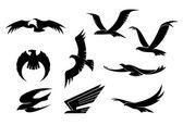 Silueta conjunto de aves voladoras — Vector de stock