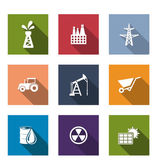 Set of flat industrial icons — Stock Vector