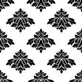 Patrón del estilo de damasco blanco y negro sin costura — Vector de stock