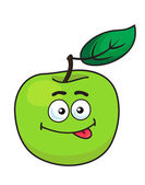 Green cartoon apple with goofy expression — Stock Vector