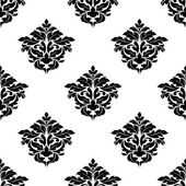 Black and white foliate motif seamless pattern — Stock Vector