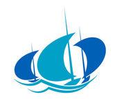 Yachts sailing on blue ocean waves — Stockvektor