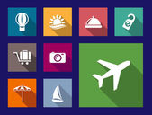 Set of flat travel and vacation icons — Stockvector
